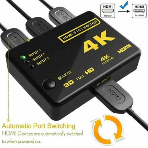 4K Ultra HD 3 Way HDMI Switch Splitter HDTV Auto 3 Port IN 1 OUT with Remote
