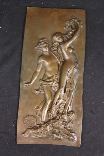 French Hand Crafted Large Bas Relief Plaque Woman Face Bronze Sculpture Decor