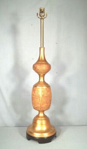 MONUMENTAL MID CENTURY MODERN JAMES MONT GILT METAL ASIAN LAMP