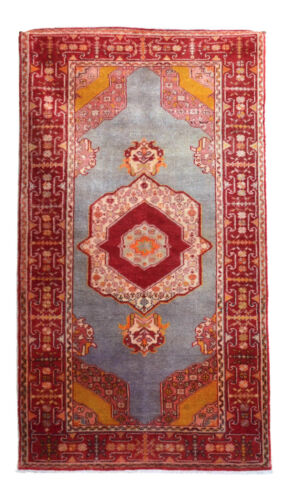 Early 20th Century Antique Turkish Rug 3′7″ x 6′3″ Hand-Knotted MASTERPICE RUG