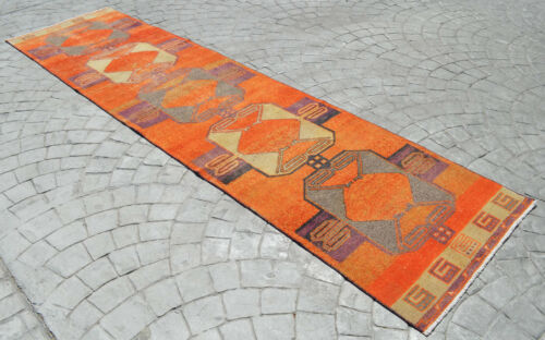 """Faded Hand Knotted Turkish Oushak Orange Runner Rug Distressed Rug 3' x 11'9"""""""