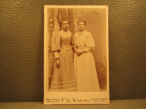 Victorian Antique Cabinet Card Photo of Two Young Girls Women Sisters Siblings