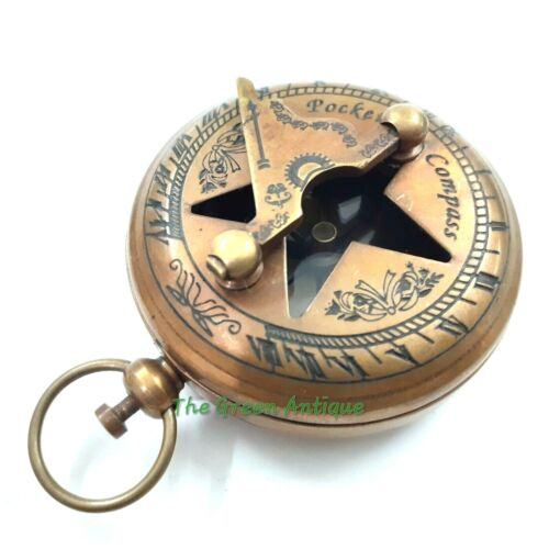 Antique Brass Pocket Press Button Sundial Compass Maritime Collectible