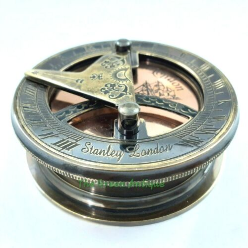 Brass Sundial Compass Antique Maritime Collectible Gift