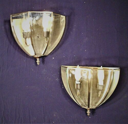 PAIR OF MID CENTURY MODERN 4 PANEL CURVED BEVELED GLASS BRASS SCONCES