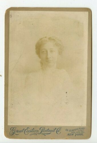 Vintage Cabinet Card Young Girl Angelic Smile Victorian Girl from New York