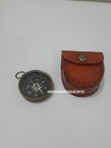 Nautical Antique Bronze Pocket Compass With Red Leather Case