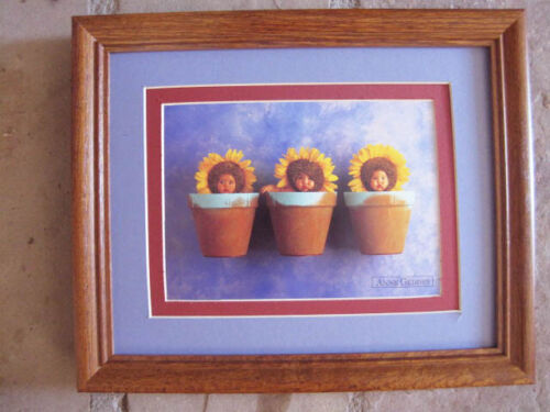 Anne Geddes SUNFLOWER TRIO wood frame double matted with glass 8 x 10
