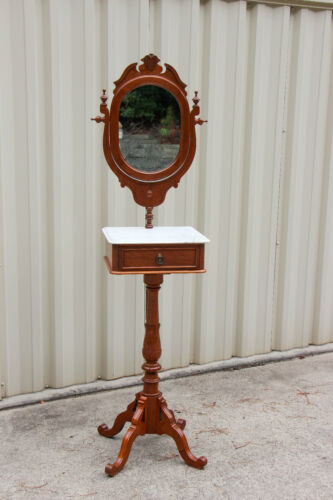 Fancy Walnut Victorian Renaissance Revival Marble Top Shaving Stand Ca.1870