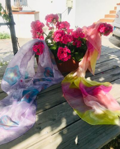 Made in Italy - Beautiful floral silk scarf 170 cm x 40cm
