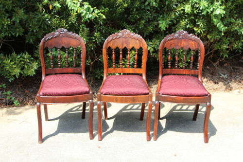 Set of 3 Flame Mahogany Empire Victorian Dining Chairs with Gothic Arches Ca1850
