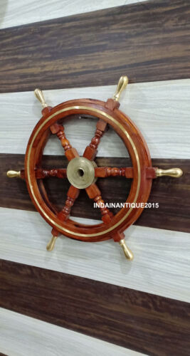 """Nautical Brown  24"""" Wooden Ship Wheel Boat Steering Wall Decor Item"""