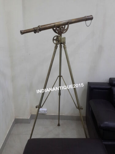 "Nautical Brass 39"" Telescope Single Barrel Antique Brown Finish With Tripod"