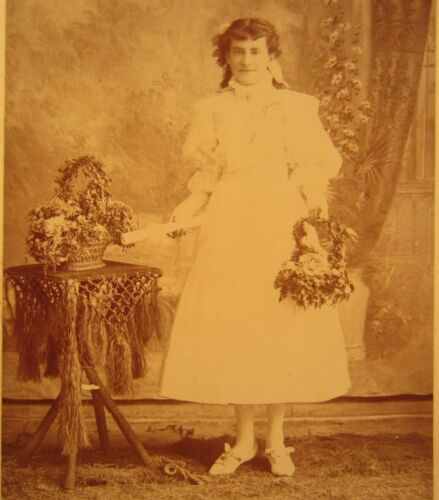 Victorian Antique Cabinet Card Photo of a Young Girl's First Confirmation