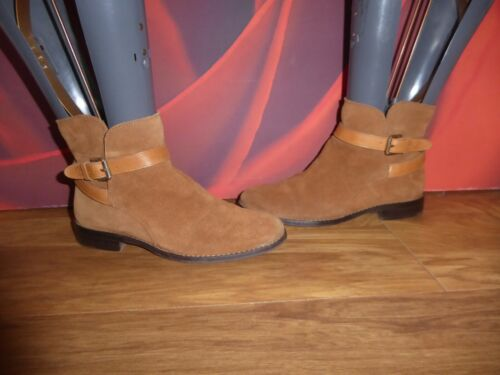 T83 MASSIMO DUTTI BROWN  LEATHER SUEDE  ANKLE BOOTS UK 2 EU 34