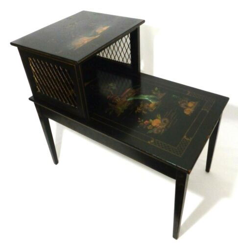 KATHERINE HENICK SIGNED VINT CHINOISERIE BLACK LACQUER TIERED END TABLE, 2 OF 2