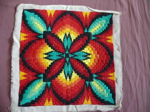 #1864  Beautiful Vintage Hand Embroidered Tapestry 33cm/33cm(13''x13'')