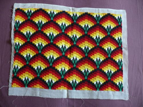 #1867 Beautiful Vintage Hand Embroidered Tapestry 62cm/48cm(24''x19'')
