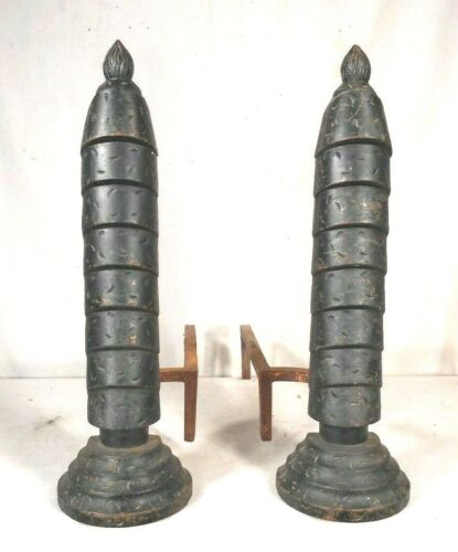 VINTAGE PAIR OF EARLY 20th CENTURY ART DECO DRIPPING CANDLE ANDIRONS