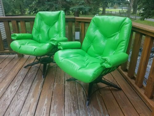 2) 1960's Vintage Mid Century HOMECREST Eames Era WIRE Swivel CHAIRS Rocker 92N