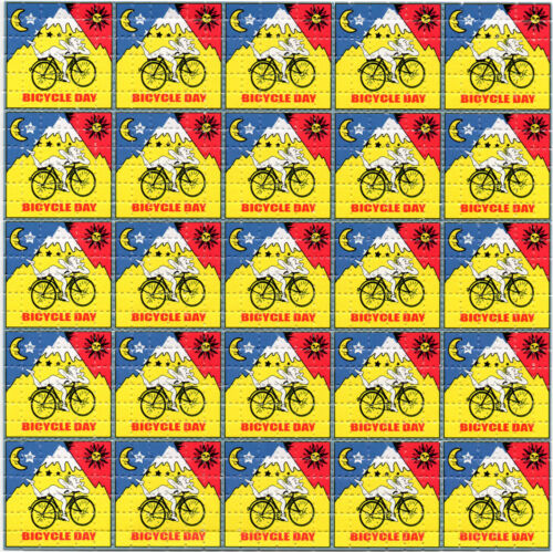 Red/Yellow Bicycle Day X25 BLOTTER ART perforated sheet paper psychedelic art