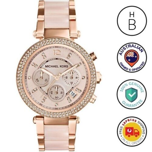 New Michael Kors Ladies Watch Parker Rose Gold Blush Acetate Glitz Chrono MK5896