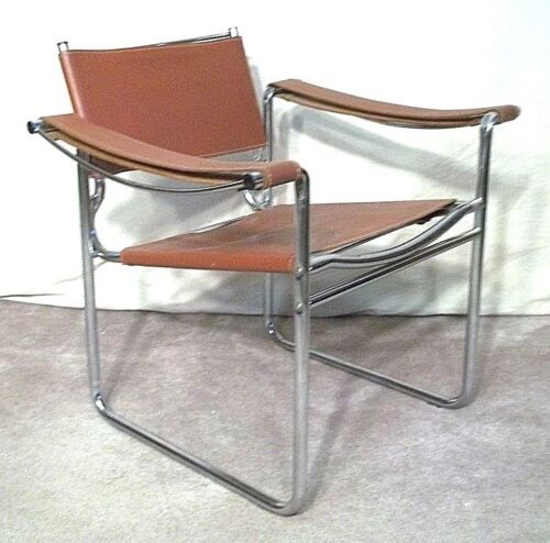 VINTAGE MID CENTURY MODERN WASSILY STYLE CHROME AND BROWN LEATHER ARMCHAIR