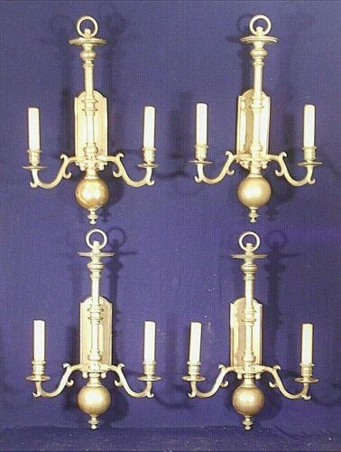 SET OF 4 EARLY 20th CENTURY CLASSICAL REGENCY DOUBLE ARM BRASS SCONCES
