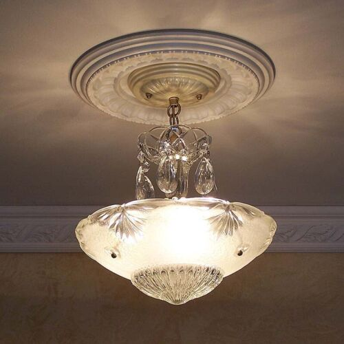 241 Vintage antique Glass Ceiling Light Lamp Fixture Chandelier art deco white