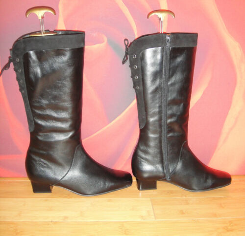 """T35 EQUITY black  leather  suede mid calf boots UK 7.5  wider fit calf 16"""""""