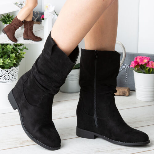 Ladies Hidden Wedge Boots Womens Mid Calf Rouched Zip Slouch Winter Shoes Size