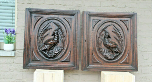 PAIR black forest hunting cabinet wood carved door panels furniture door