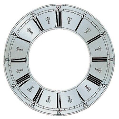 Spun Silver Replacement Clock Zone Dial 10 inches 254mm Roman Numerals - CZ30