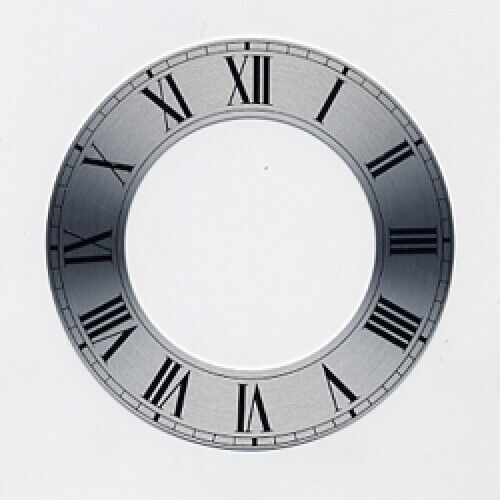Spun Silver Replacement Clock Zone Dial 7 inches 180mm Roman Numeral - CZ17