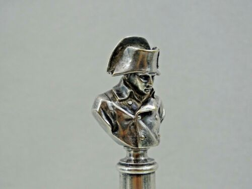 FINEST QUALITY ANTIQUE WAX SEAL NAPOLEON BONAPARTE BUST silvered bronze