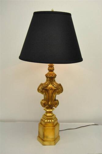 VINTAGE ORNATE DESIGNED GOLD WITH BROWN WASH TABLE LAMP