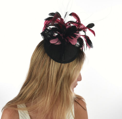 Wedding Church Melbourne Cup Race Carnival Derby Day Fascinator Black and Pink
