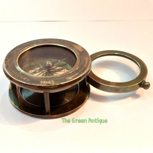 Antique Brass Compass Magnifier Maritime Collectible Gift