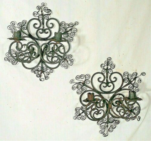 ANTIQUE PAIR OF EARLY 20th CENTURY WROUGHT IRON DOUBLE ARM SCONCES