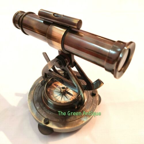 Antique Nautical Brass Alidade Telescope Base Compass Collectible Gift