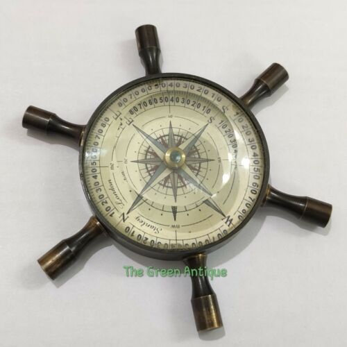 Brass Antique Wheel Floating Dial Compass Maritime Gift