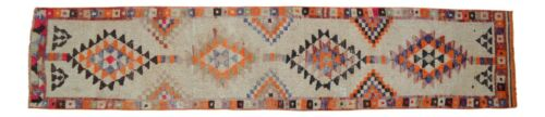 2x11 Rug Kurdish Runner Rug Hand Knotted Low Pile Boho Runner Actual 29x134 inch