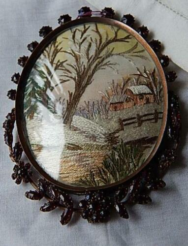 Mid 19C Silk Scenic Needlepoint in Garnet Encrusted Frame with Curved Glass