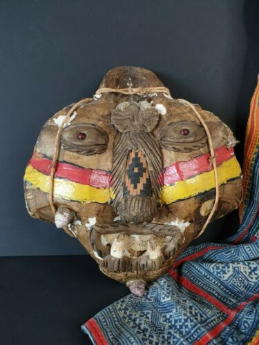 Old Amazonian Tortoise Shell Mask with Crocodile Teeth …beautiful collection & d