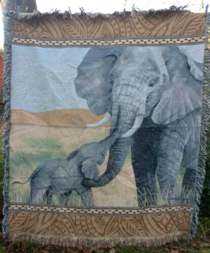 FAther's Day ELEPHANTS mom baby TAPESTRY WALL art HANGING blanket throw