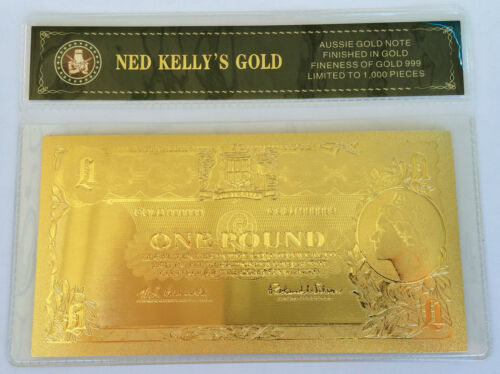 NED KELLY'S GOLD ONE POUND 24K 999 GOLD FOIL BANK NOTE C.O.A. PACK b