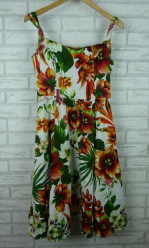 Hearts & Roses Fit & Flare Dress Pleated Orange Red Green White Floral Print