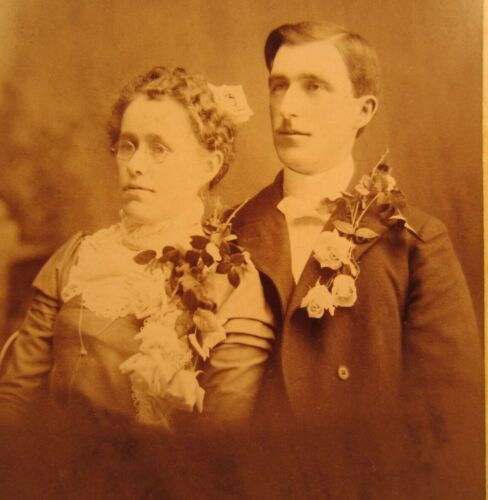 Victorian Antique Cabinet Card Wedding Photo of a Married Couple Man and Woman