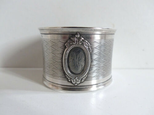 ANTIQUE FRENCH SOLID SILVER 950 GUILLOCHE NAPKIN RING ( n1 )