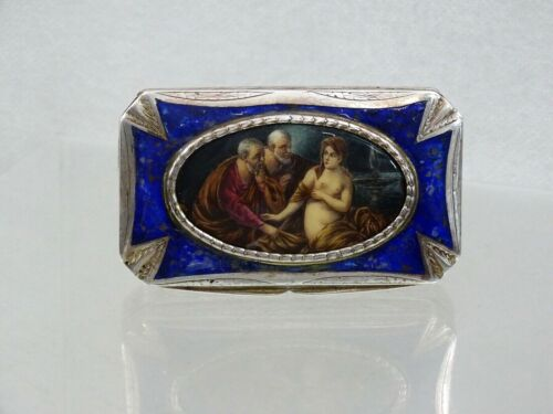 ANTIQUE EUROPEAN SILVER ENAMEL SNUFF PILL BOX HAND PAINTED MINIATURE sterling